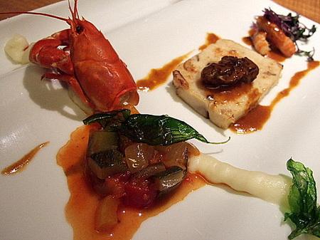 焼いた秋キノコのテリーヌ仕立て 阿寒湖のウチダザリガニとそのソースで  のぐち北湯沢ファームのお野菜ラタトゥイユ
