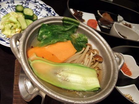 ズッキーニなど野菜のしゃぶしゃぶ