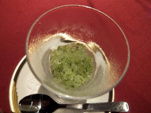 イタリアンレストラン「azzurro(アズーロ)」キュウリとキウイのグラニータ