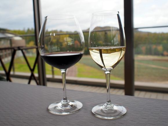 富良野ワインのミュラートゥルガウ(白)ツバイゲルトレーベ(赤)で乾杯
