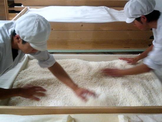 高砂の酒造りを支える蔵人達の仕込み作業