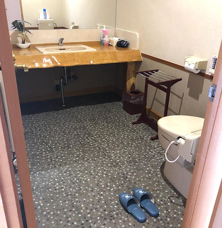 新館和室12畳にはトイレと洗面所があります