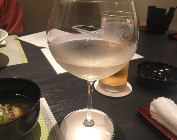 章月グランドホテルのお食事、白ワイン