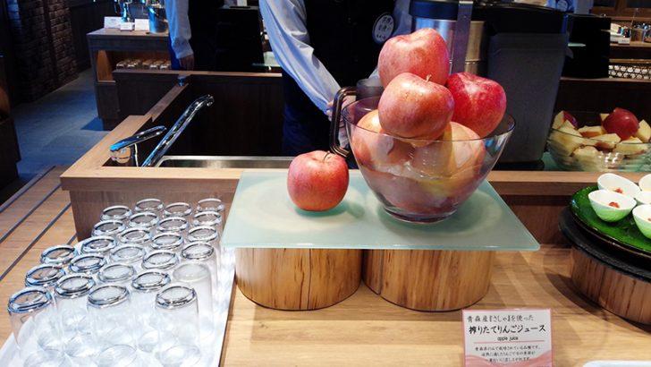 HAKODATE海峡の風の朝食ビュッフェ。津軽産のリンゴを目の前で絞るフレッシュジュース