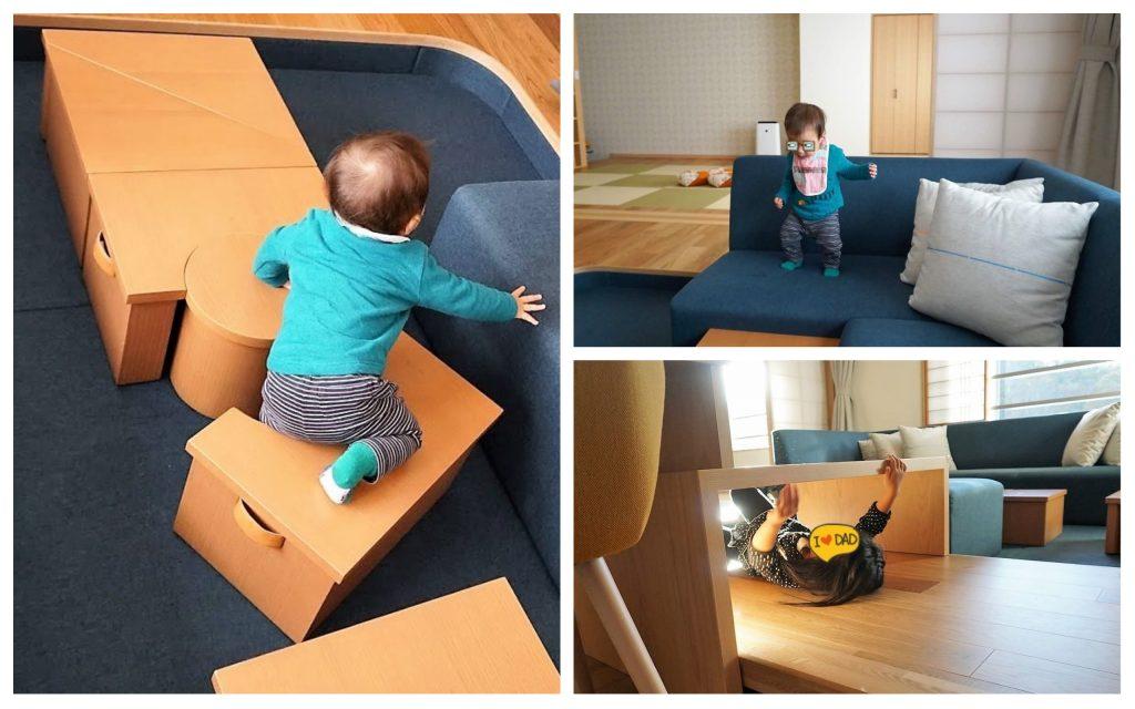 客室で遊ぶ子供たち