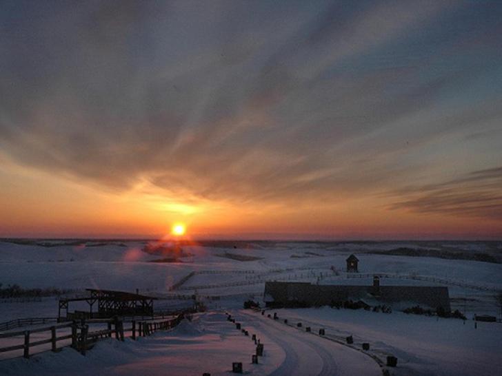 美幌峠から見える朝陽