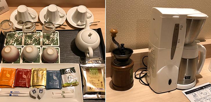 客室に備えられたドリンク類とコーヒーミル&コーヒーメーカー