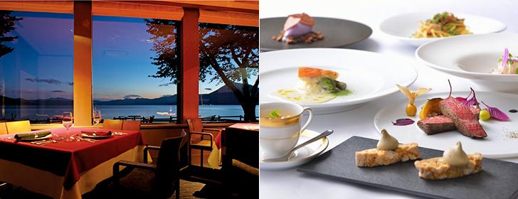 翠明閣のレストランとディナー一例
