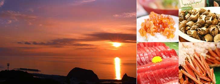 オホーツク海に沈む美しい夕日とバイキングのお料理