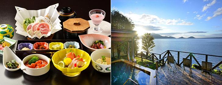 お部屋でいただく和食膳と露天風呂が人気の丸駒温泉