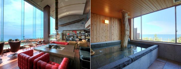心のリゾート海の別邸ふる川のラウンジと貸切風呂