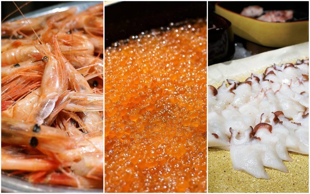 夕食ビュッフェの甘えび、イクラ、タコの刺身
