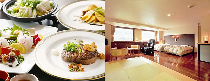 甘露の森の料理と客室一例