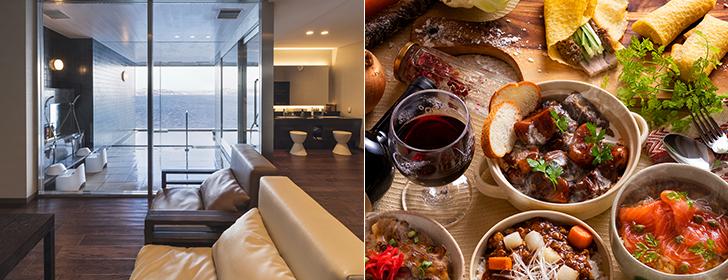 広い休憩スペースを有する豪華な貸切風呂。ブッフェの美味しさでも人気が高く、客室は全室レイクビュー!
