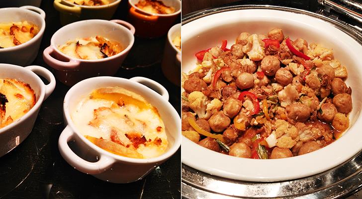 ベビーホタテのモークチーズ焼きと中華ネギ塩ソース炒め