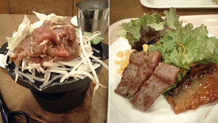 テーブルで自分で焼くジンギスカンやお肉も!