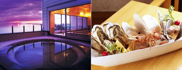 サロマ湖鶴雅の2階露天風呂と料理一例