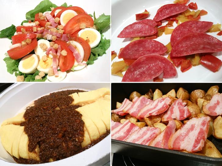 朝食のサラダや更に、卵料理、ポテトの料理4種