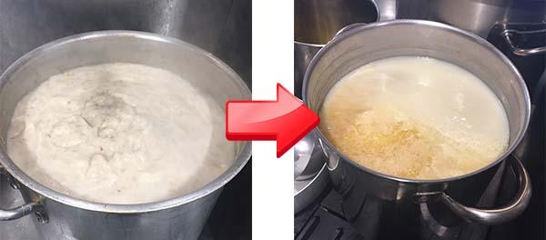 麺屋菜々兵衛の煮込み中スープ