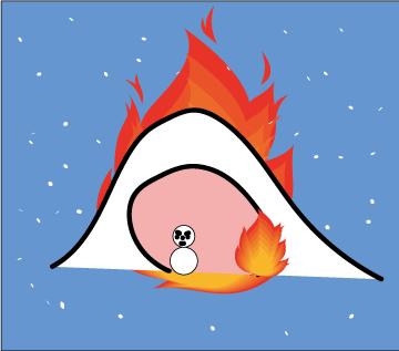 かまくらが炎上するイラスト