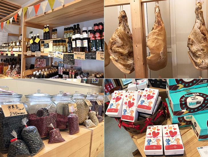 モール温泉化粧品やモール豚の加工食品、地元農家の農産物に豆類など十勝の特産品が並ぶひなたのマルシェ