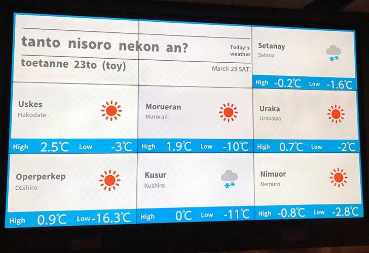 アイヌ語ローマ字表示されている天気予報