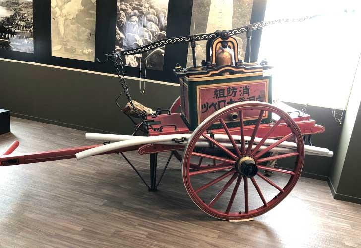 洞爺郷土資料室に展示している放水車