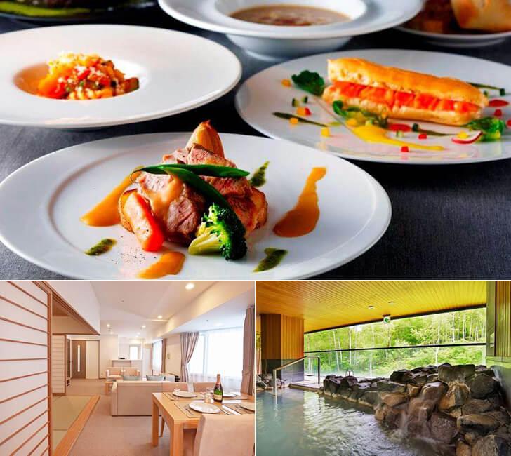 レストラン「Tura」でのカジュアルディナーと、客室・プレミアムスイートTatami、そして露天風呂の写真