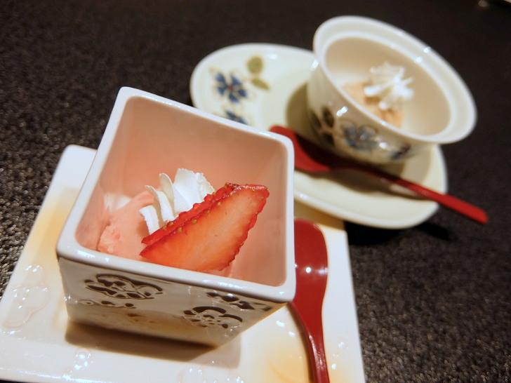 デザートは北海道きな粉と黒蜜アイス、または完熟冬苺シャーベット