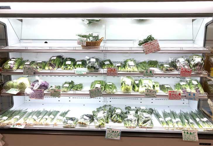 とうや水の駅に並ぶ葉物野菜