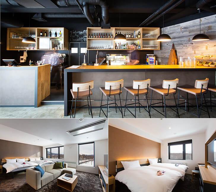 1階にあるレストラン「elements」と二つの客室、ヨウテイスイートとニセコルームツインベッドの写真