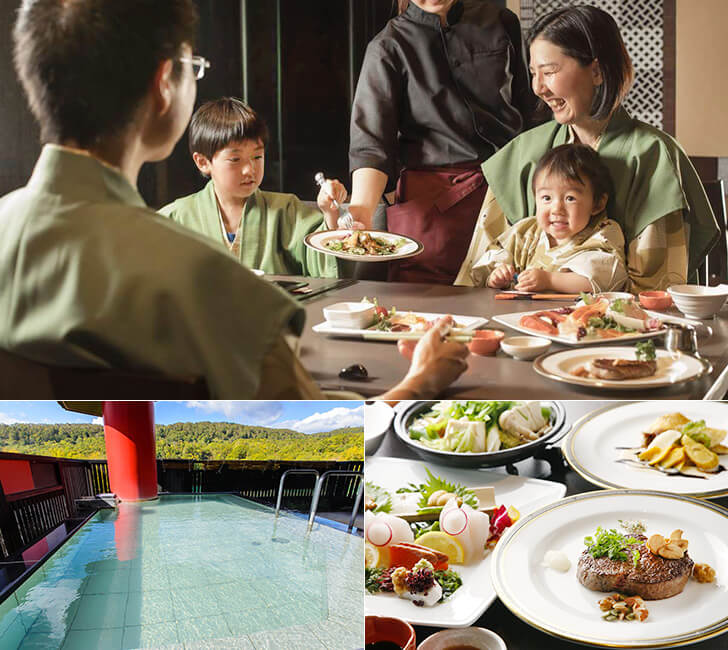 ハーフビュッフェスタイルの夕食と昆布温泉郷を一望できる露天風呂
