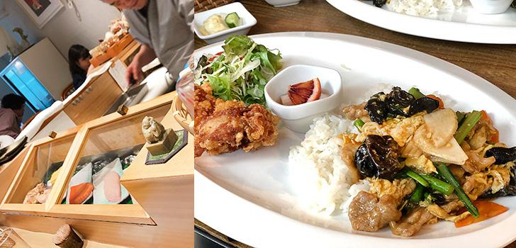 カウンターケースの寿司ネタとチャイナプレート