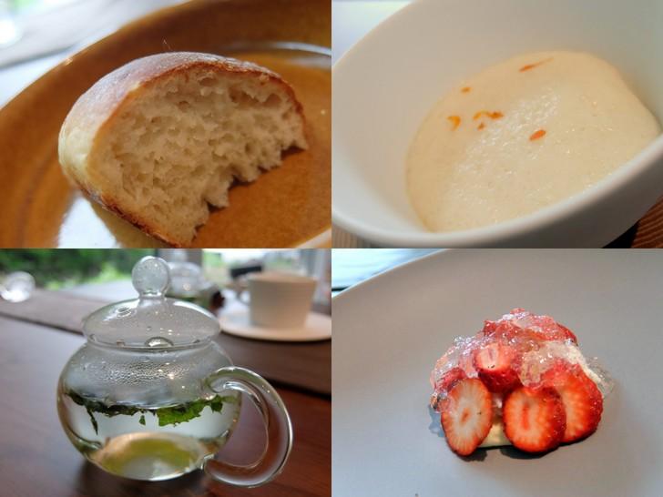 越冬じゃがいもの焼立てパンやイチゴ「サトホロ」のラベンダーゼリー仕立てのデザート、自家製ハーブティー