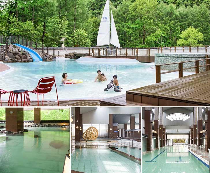大浴場に露天風呂、水着で楽しむ温泉ビーチに温泉プール