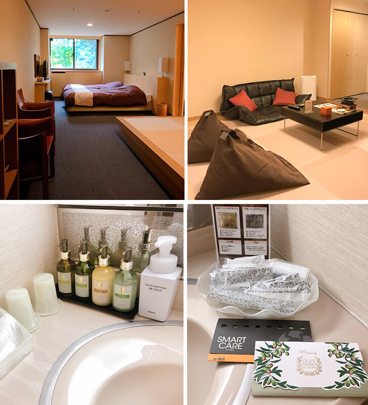 客室のベッド、リビングスペース、アメニティ