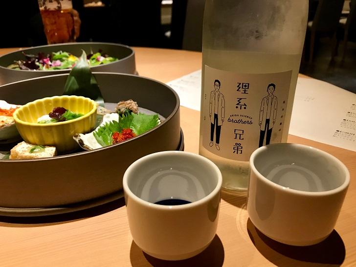 旅籠屋 定山渓商店の夕食 焼肉コースと日本酒「理系兄弟」の写真
