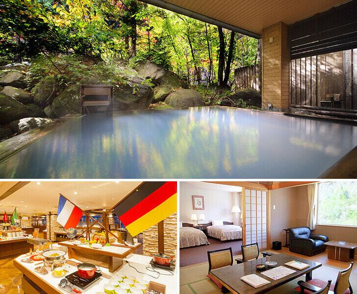 朝陽リゾートの温泉とレストラン、客室の写真