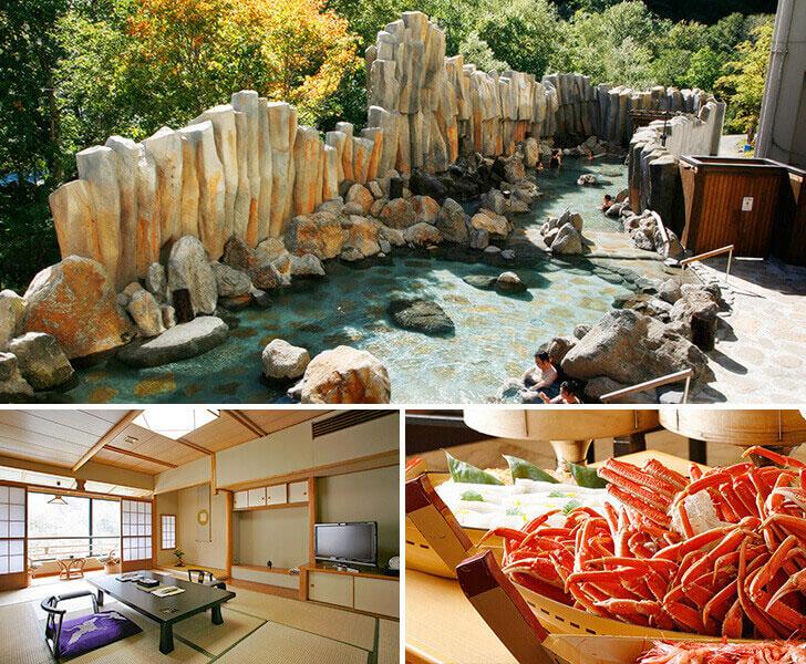 層雲峡観光ホテルの大露天風呂「宇旅璃」と客室、バイキングの写真