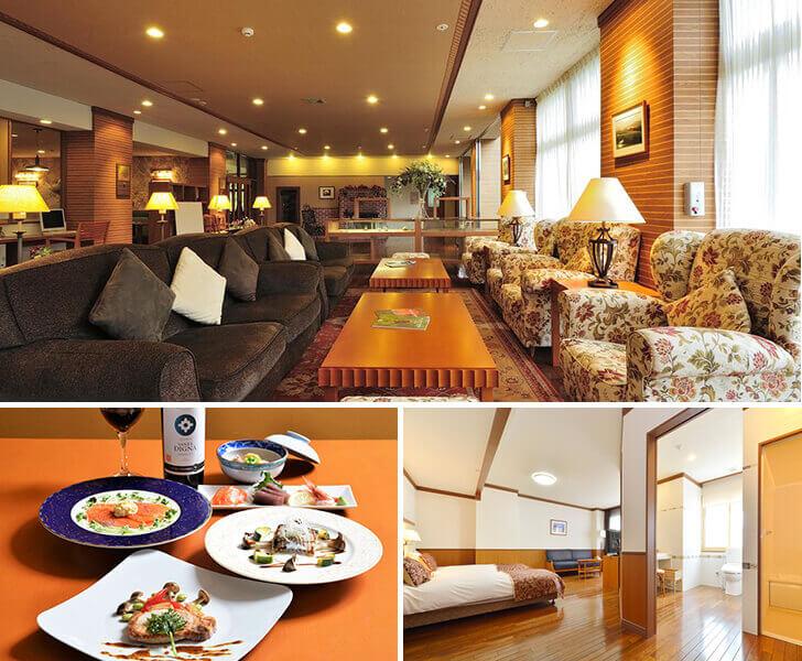 旭岳温泉ホテルディアバレーの落ち着いたロビーと料理、バリアフリー客室の写真