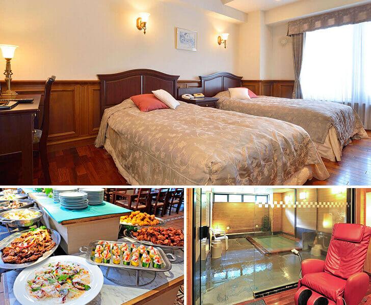 旭岳温泉ホテルベアモンテの特別室とバイキング、貸切風呂の写真