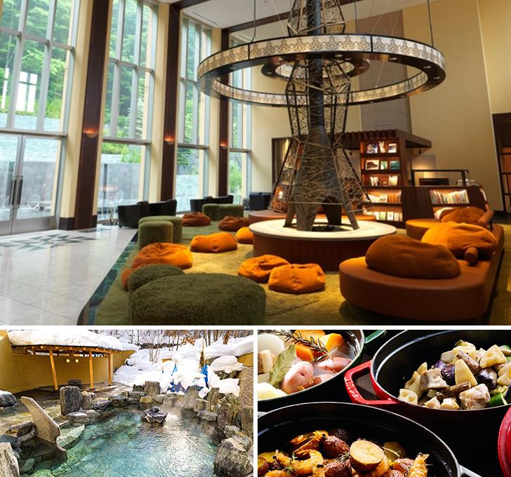 定山渓鶴雅リゾートスパ森の謌のロビーと露天風呂と夕食