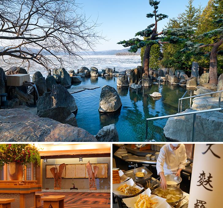 あかん遊久の里鶴雅の露天風呂、ロビー、夕食の画像