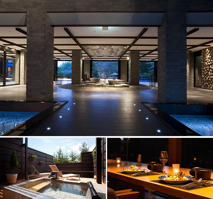 しこつ湖鶴雅リゾートスパ水の謌のエントランスロビーと客室露天風呂と夕食