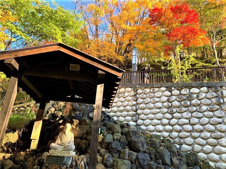 定山源泉公園内、美泉定山之象からの紅葉の写真