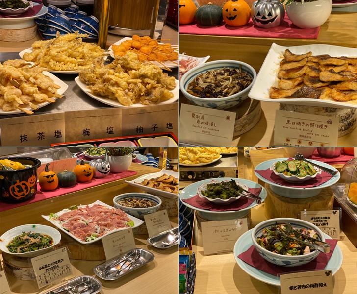 ハーフバイキングに並ぶお料理。天ぷらなど人気メニューの他、道産食材を使用したお料理が豊富。