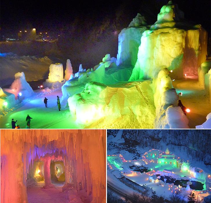氷瀑まつりの会場全景やトンネル内など