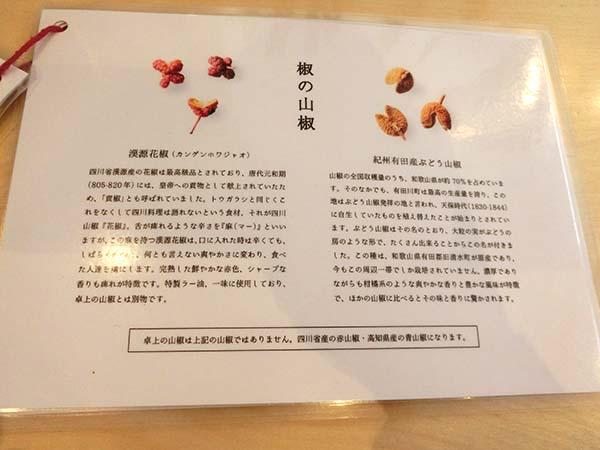 使用している山椒の説明