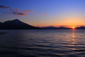 支笏湖の夕景